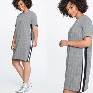 Eloquii | Houndstooth Plaid Striped Shift Dress 20